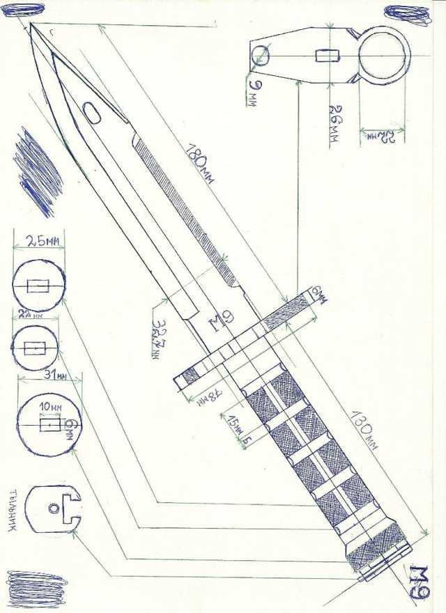 Kniv Cerambit: Hvordan lage et tre, Tegning, Tegning - Mal på papir