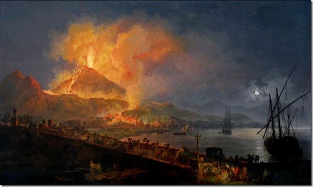 Eruption du Vésuve vue du pont de la Madeleine à Napls- P.J. Volaire