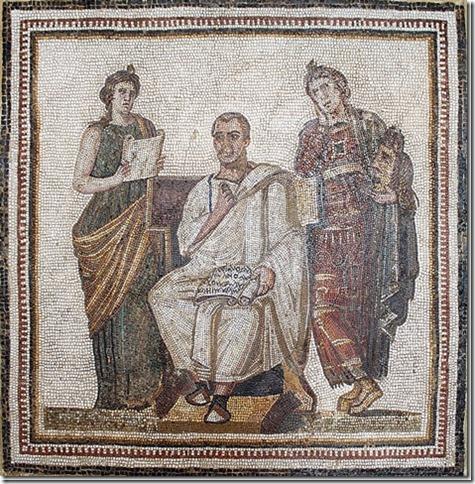 Virgile et les Muses Clio et Melpomène, mosaïque d'Hadrumetum