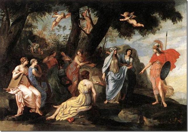 Minerve chez les Muses par Stella