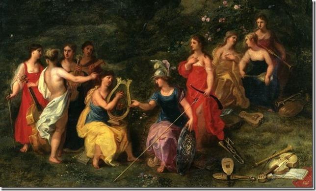 Minerve parmi les Muses par van Baaleen et van Uden