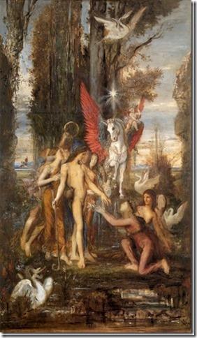 Hésiode et les Muses par Gustave Moreau