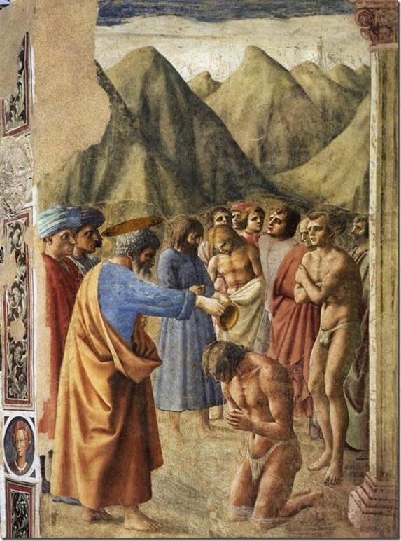 Le baptême des Néophytes, Masaccio (1426-27), fresque, 255 × 162 cm, Chapelle Brancacci, Santa Maria del Carmine, Florence
