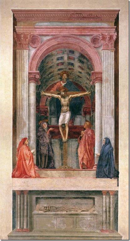La Trinité, Masaccio (1425-28), fresque, 640 × 317 cm, Santa Maria Novella, Florence