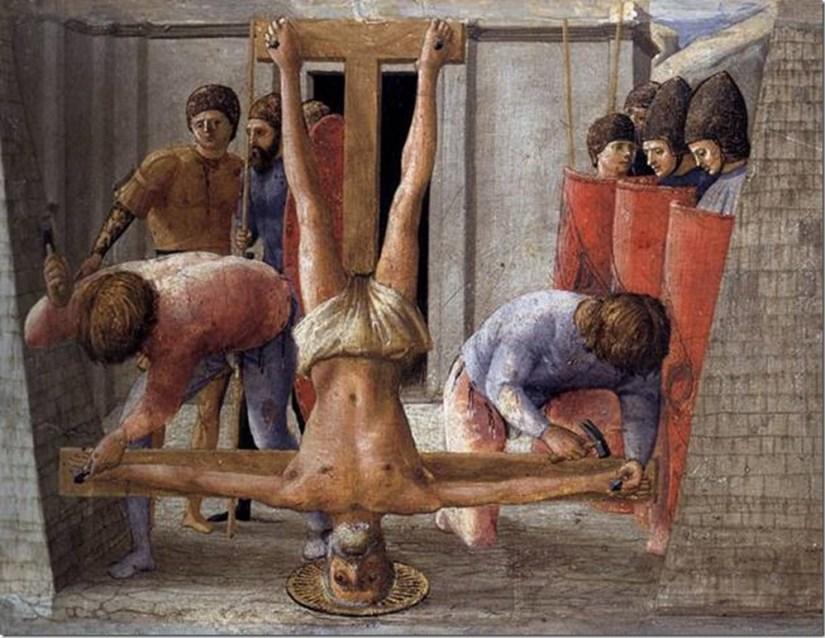 La crucifixion de Saint-Pierre, Polyptyque de Pise, Masaccio, Staatliche Museen, Berlin
