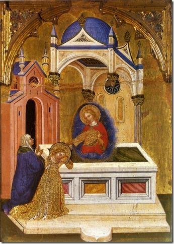 Eutychie et Lucie sur la tombe de Sainte Agathe, Jacobello del Fiore