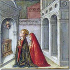 Sainte Lucie et sa mère prie sur le tombeau de Sainte Agathe