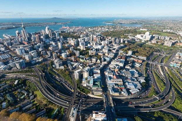 © New Zealand Herald Spaghetti junction vue du ciel.