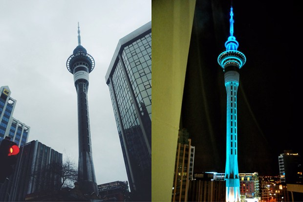 © auckland-nzl.blogspot.com La Sky Tower, qui s'illumine en turquoise à chaque match des Blacks Caps,  l'équipe de cricket nationale.