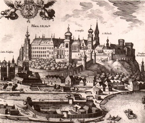 Dessin médiéval de la colline de Wawel