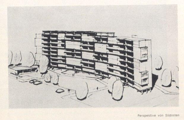 croquis avec l'espace devant le bâtiment (source: Interbau Berlin 1957. Amtlicher Katalog)