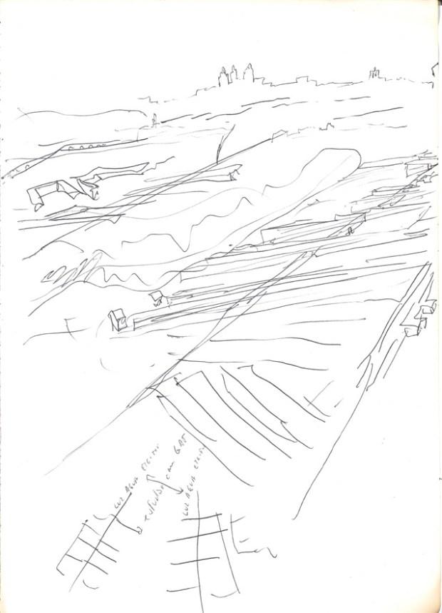 Dessin d'Alvaro Siza montrant l'emplacement du nouveau quartier, avec dans le fond la ville d'Evora