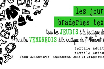 jours de braderie textile à l'Association Voisinage