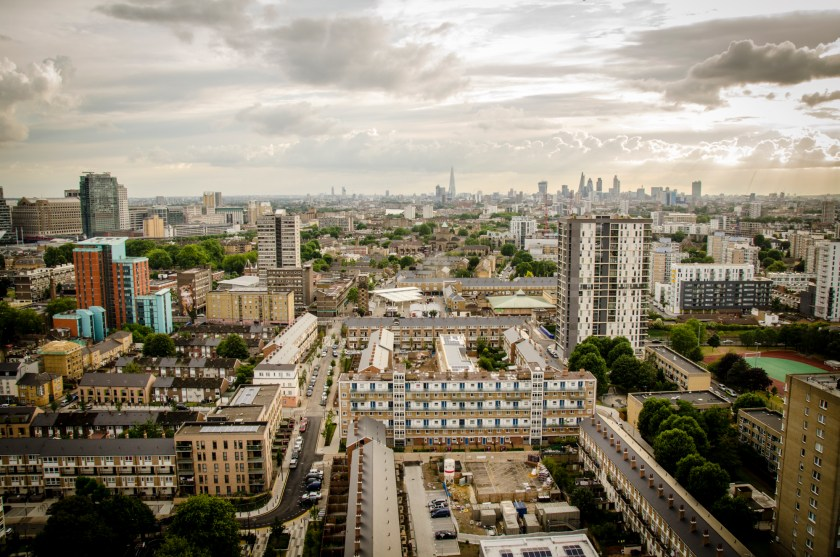 The London cityscape as seen from atop of Balfron Tower (© Tilley Harris)