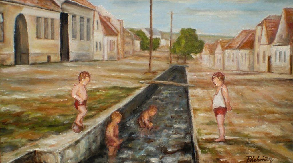 Hrajúce sa deti na potoku (Alstrova ulica v roku 1952)