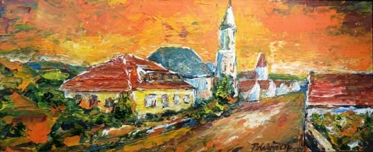 Evanjelický kostol s farou (maľba špachtľou)