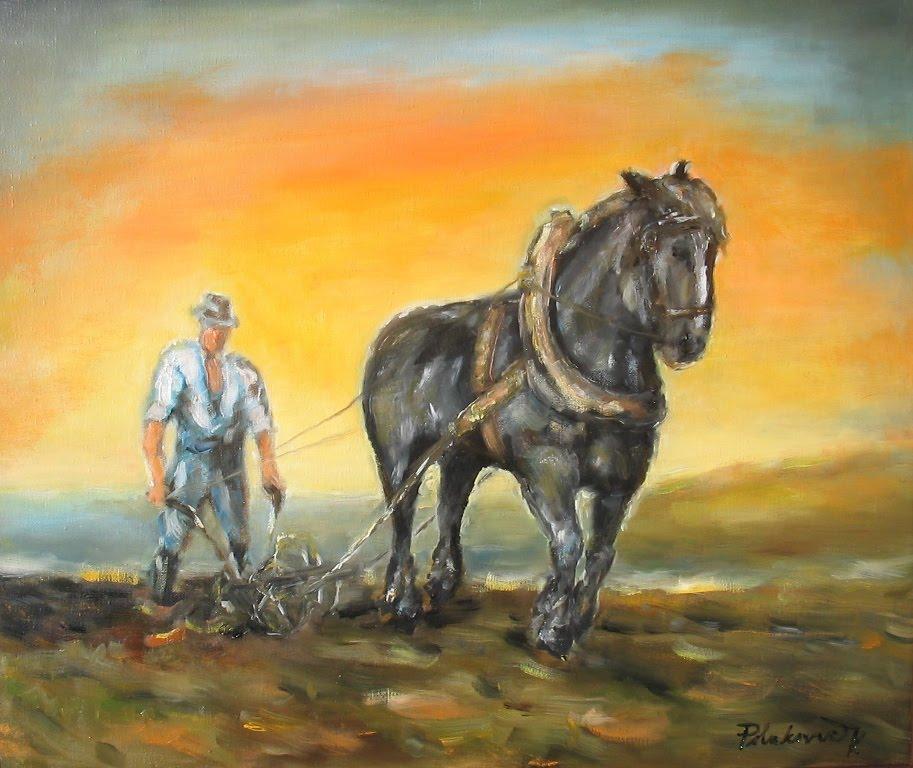 Štyri ročné obdobia s čiernym koňom: zvážanie obilia - jeseň