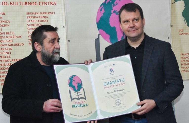 Игору Мировићу уручена Грамата Песничке републике