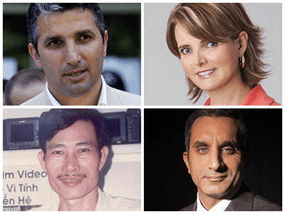 Nedim Şener, Janet Hinostroza,Nguyen Van Hai , Bassem Youssef  ។ (AP)