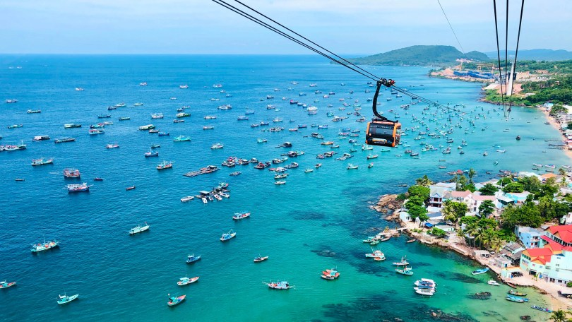 Phu Quoc recently opened the world's longest non-stop three-rope cable car. Shutterstock