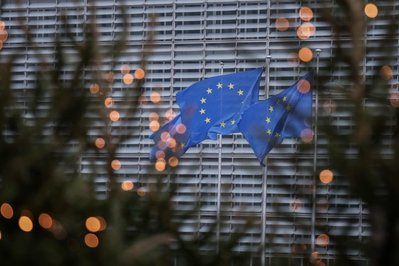 European Union flags fly outside the European Commission building in Brussels, Belgium, Dec. 7, 2020. (AFP Photo)