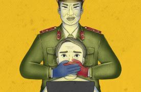 រូបគំនូរប៉ូលិសវៀតណាម យកដៃទាំងពីរខ្ទប់មាត់បុរសម្នាក់ ដែលកំពុងអង្គុយប្រើប្រាស់បណ្តាញសង្គម ។ រូបៈ Amnesty International