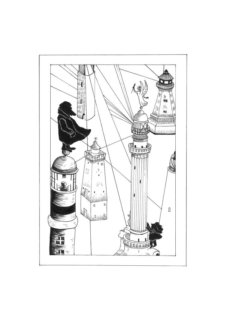 Il cacciatore di fari è un racconto di Chiara Mancinelli illustrato da Jana Kalc