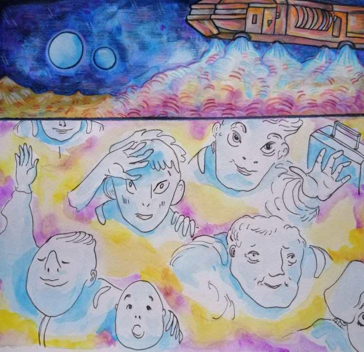Ilustración de Jana Kalc del cuento de Tony Jim El mares volvemos a casa