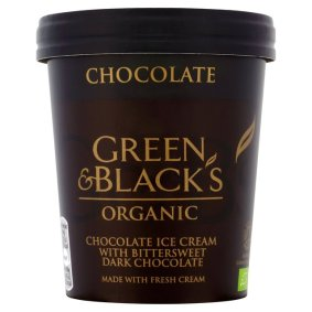 Green and black chocolate ice cream