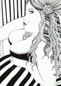 LiaR - Femme rayures - Encre