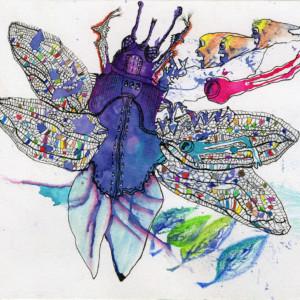 Claudine-Santelli---Lucane-Mosaïque---Technique-mixte-sur-papier---14,5-x-20,5-cm