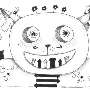 liar-le chat fou 1 - encre sur papier