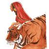 Navas - La femme au tigre encre et aquarelle