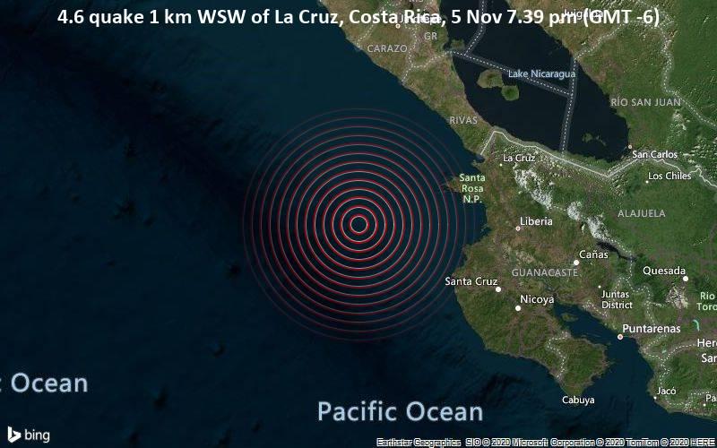 4.6 quake 1 km WSW of La Cruz, Costa Rica, 5 Nov 7.39 pm (GMT -6)