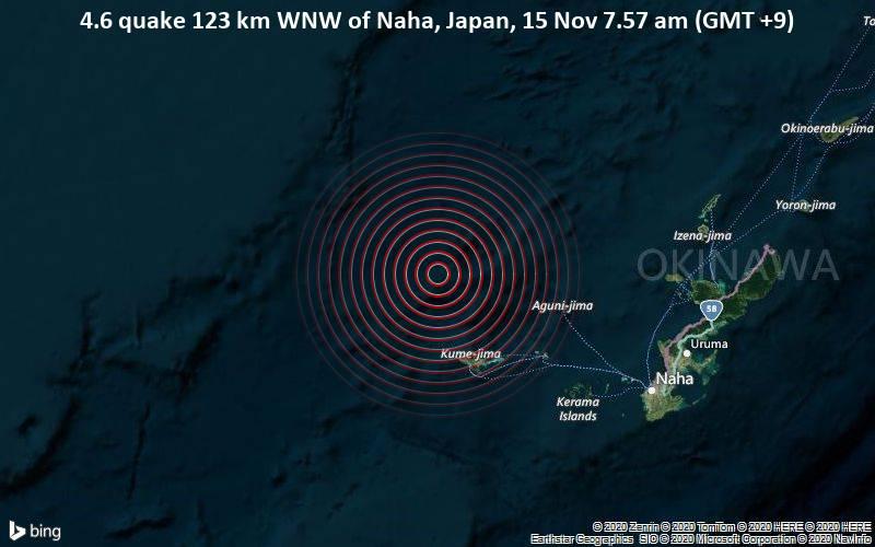 4.6 quake 123 km WNW of Naha, Japan, 15 Nov 7.57 am (GMT +9)