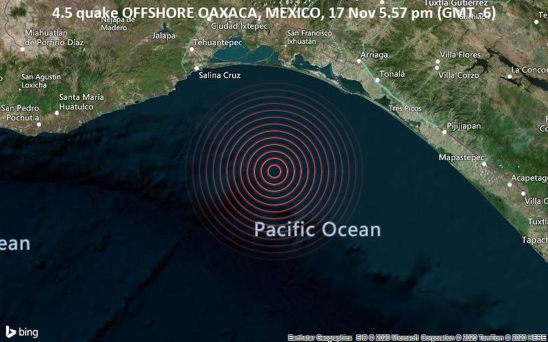 4.5 quake OFFSHORE OAXACA, MEXICO, 17 Nov 5.57 pm (GMT -6)