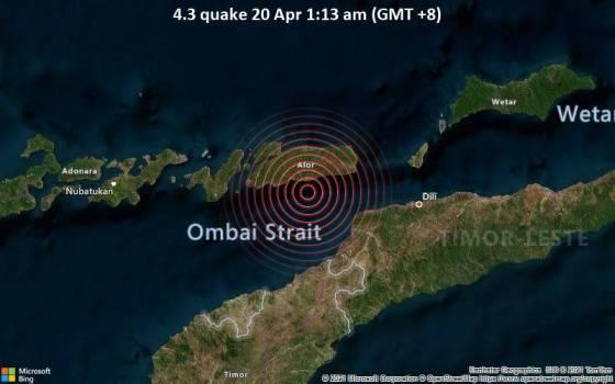 4,3 gempa 20 Apr 1:13 pagi (GMT +8)