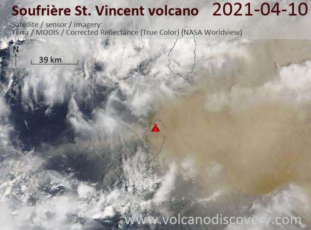 Satellite image of Soufrière St. Vincent volcano on 11 Apr 2021