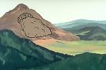 Illustration of a landslide from a volcano