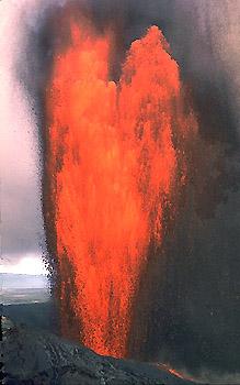 Lava fountain at Pu`u `O`o vent, Kilauea Volcano, Hawai`i