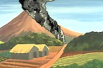 Animation still of a pyroclastic flow