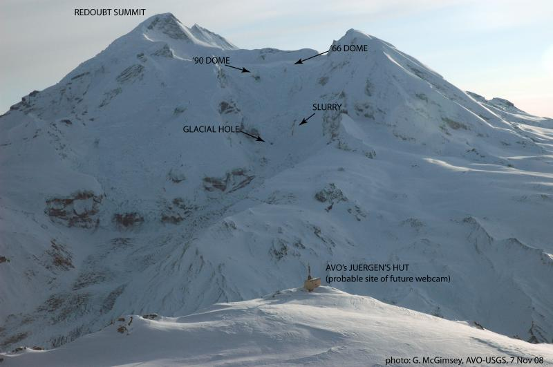 Areas of current activity on Redoubt Volcano, Alaska