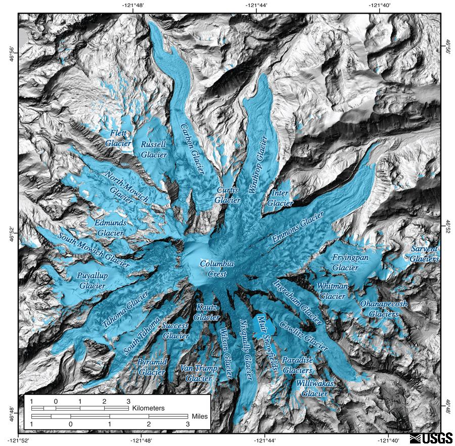 Glaciers of Mount Rainier overlaid on a base map LIDAR image, which shows the topography of the volcano.
