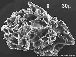 Partikel abu volkanik yang dilihat menggunakan Mikroskop Pindai Elektron atau Scanning Electron Microscope (SEM)