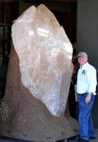 This giant Brazilian crystal of quartz was displayed at the 2008 Tucson, AZ, Rock and Mineral Show. (© Thomas McGuire)