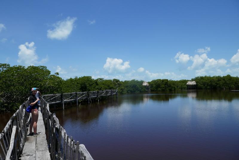 Anete on a bridge in the crocodile park near Caye Caulker, Belize