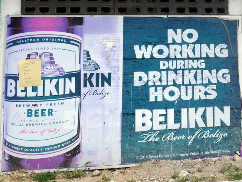 Beliking Beer sign in Belize City.
