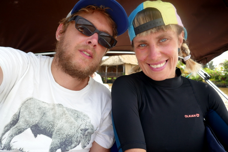 Tom and Anete are ready for snorkeling in Hopkins, Belize