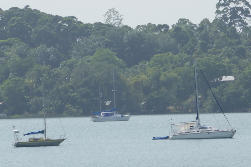 Josée and Friend Ship at the mound of Rio Dulce