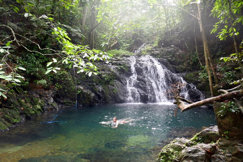 Tom swimming in Antilope Falls in Bocawina, Belize